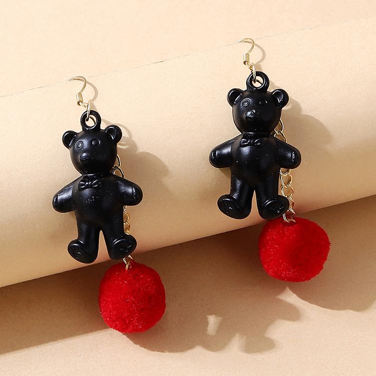 韩版小清新创意甜美百搭可爱树脂小熊耳环(黑+红)