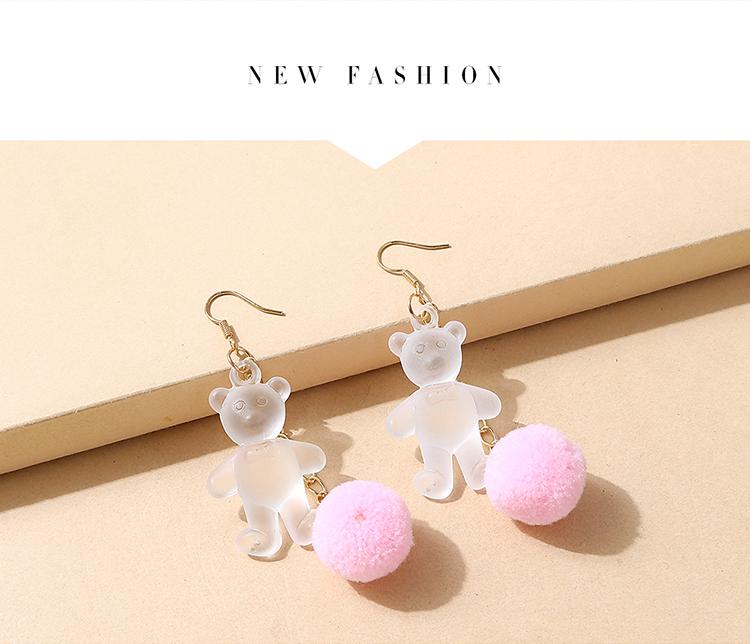 韩版小清新创意甜美百搭可爱树脂小熊耳环(白+粉)