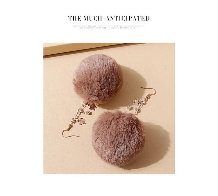 韩版创意气质大牌ins潮爆款绒毛球水钻耳环(紫红)