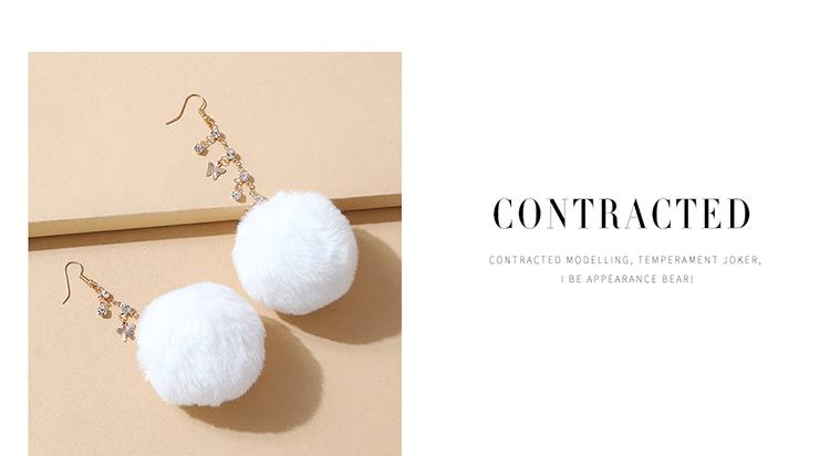 韩版创意气质大牌ins潮爆款绒毛球水钻耳环(咖啡色)