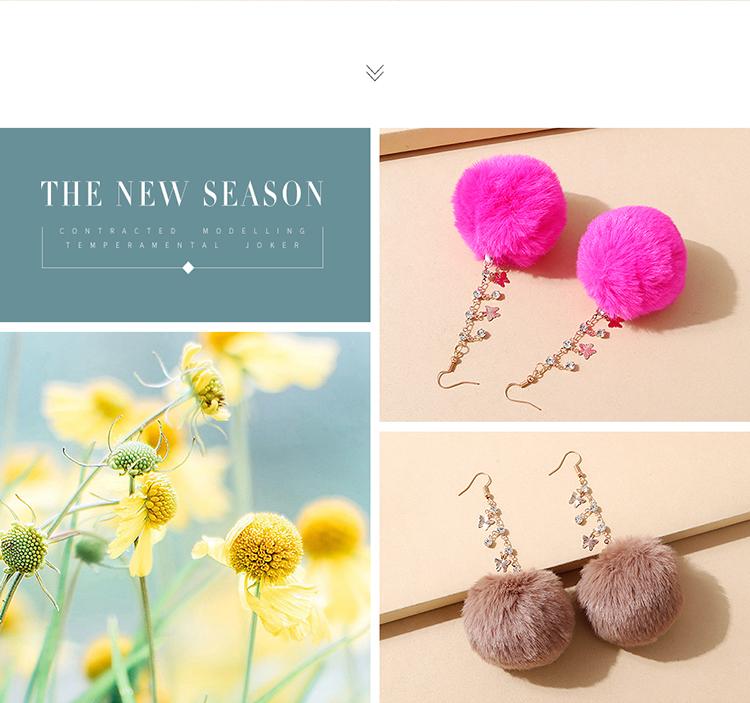 韩版创意气质大牌ins潮爆款绒毛球水钻耳环(粉色)