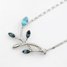 奥地利水晶项链-树叶(浅蓝+深绿)