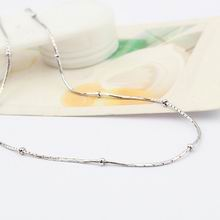 特价纯银16寸镀白金圆竹节间珠项链配链