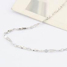 特价纯银16寸镀白短扭间梅花项链配链