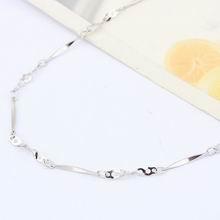 特价纯银18寸镀白批角间扭7孔项链配链