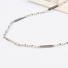 特价纯银18寸镀白十字间扭片项链配链