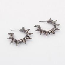 欧美时尚个性锥形小圈耳环(深灰)