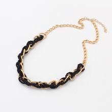 欧美复古民族风麻花米珠项链(黑)