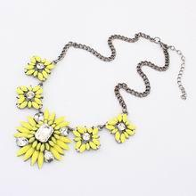 欧美波西米亚甜美花朵吊坠项链(黄色)