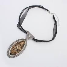 欧美夸张民族风琥珀项链(古银)
