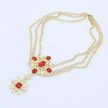 欧美百搭朋克金属宝石项链(红色)
