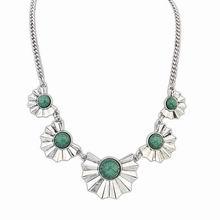 欧美朋克复古新款扇形项链(古银+绿色)
