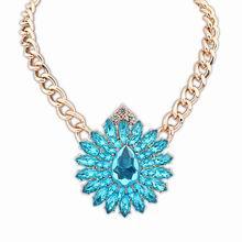 欧美街拍潮流奢华宝石项链(蓝色)