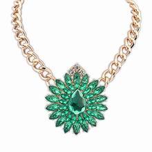 欧美街拍潮流奢华宝石项链(绿色)