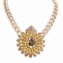 欧美街拍潮流奢华宝石项链(黄色)