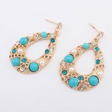 欧美波西米亚水滴优雅耳环(蓝色)