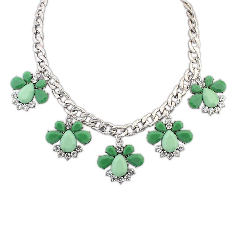 欧美时尚百搭甜美系项链(古银+绿色)