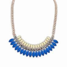 欧美时尚多层精致百搭项链(蓝色+米白)