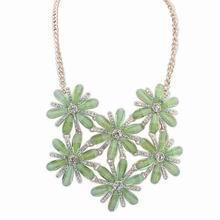 欧美时尚甜美气质镶钻项链(绿色)