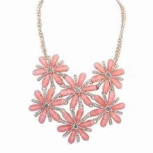 欧美时尚甜美气质镶钻项链(浅玫红)