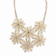 欧美时尚甜美气质镶钻项链(淡黄)