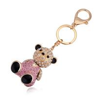 进口水晶钥匙扣--娃娃熊(香槟金+浅玫红)