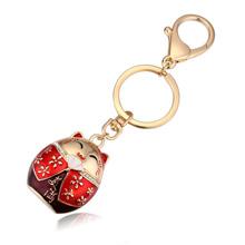 钥匙扣--招财猫(香槟金+红色)