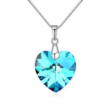 奥地利水晶银项链--夏槿(蓝光)