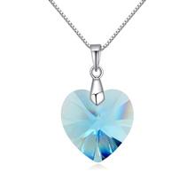 奥地利水晶银项链--夏槿(海蓝)