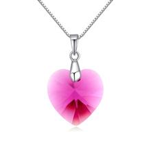 奥地利水晶银项链--夏槿(紫红)