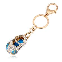 进口水晶钥匙扣--绣花鞋(香槟金+蓝色)