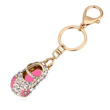 进口水晶钥匙扣--绣花鞋(香槟金+粉红)