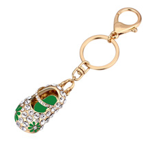 进口水晶钥匙扣--绣花鞋(香槟金+绿色)
