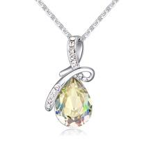 S925纯银项链--满庭芳(夜光绿)