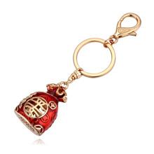钥匙扣--个性钱袋(香槟金+红色)
