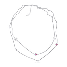 进口水晶毛衣链--芳华如梦(玫红)