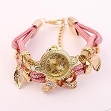 欧美时尚潮流镶钻蝴蝶结缠绕式手表(粉色)