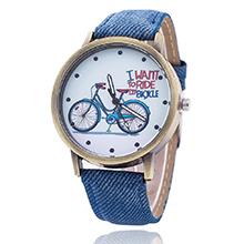 韩版时尚复古单车牛仔帆布皮带学生手表(蓝色)