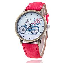 韩版时尚复古单车牛仔帆布皮带学生手表(红色