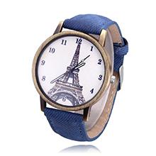 韩版时尚复古铁塔牛仔帆布皮带学生手表(蓝色)