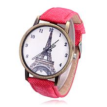 韩版时尚复古铁塔牛仔帆布皮带学生手表(红色)