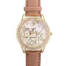 韩版森林系猫头鹰镶钻皮带手表(浅咖)