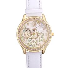 韩版森林系猫头鹰镶钻皮带手表(白色)