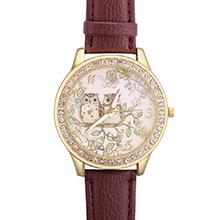 韩版森林系猫头鹰镶钻皮带手表(棕色)