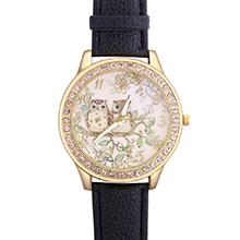 韩版森林系猫头鹰镶钻皮带手表(黑色)