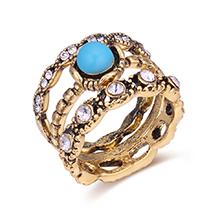 韩版复古水晶三件套装戒指