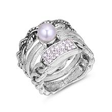 韩版时尚复古珍珠水晶三件套装戒指