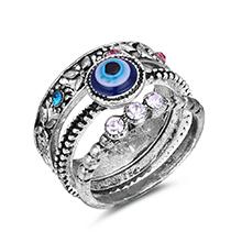 韩版时尚复古水晶三件组合套装戒指