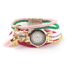 韩版潮流时尚镶钻皮绳女表(粉色)