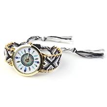 韩版潮流时尚毛线编织石英手表(黑色)
